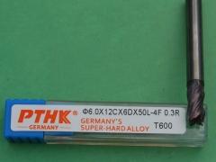 供应PTHK超微粒钨钢涂层圆鼻铣刀/数控刀具6X0.3RX12CX50LX6DX4F