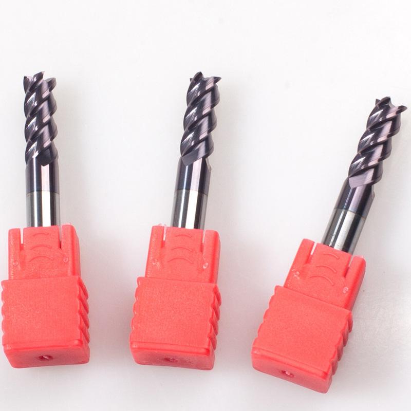 台湾进口55度钨钢涂层平底铣刀高硬度高速数控刀具4刃钨钢铣刀