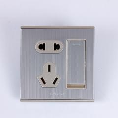 86型一位开关五孔墙壁拉丝面板一开五孔双不锈钢墙壁开关插座,东莞市兆瑞电子有限公司